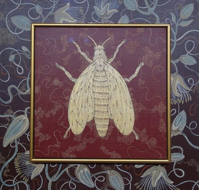 "Stephanie Wilde, ""Queen"" (detail) (2014), acrylic, ink, gold leaf, Angela Usrey (Tanner Hill Gallery)"
