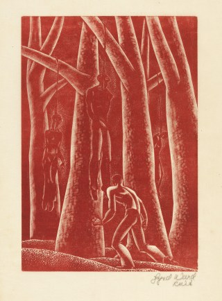 Lynd Ward Lynching, from the novel Wild Pilgrimage (1932), wood engraving 9 in x 6 3/4 in., Mary and Leigh Block Museum of Art, Northwestern University, 1999.27.1 (click to enlarge)