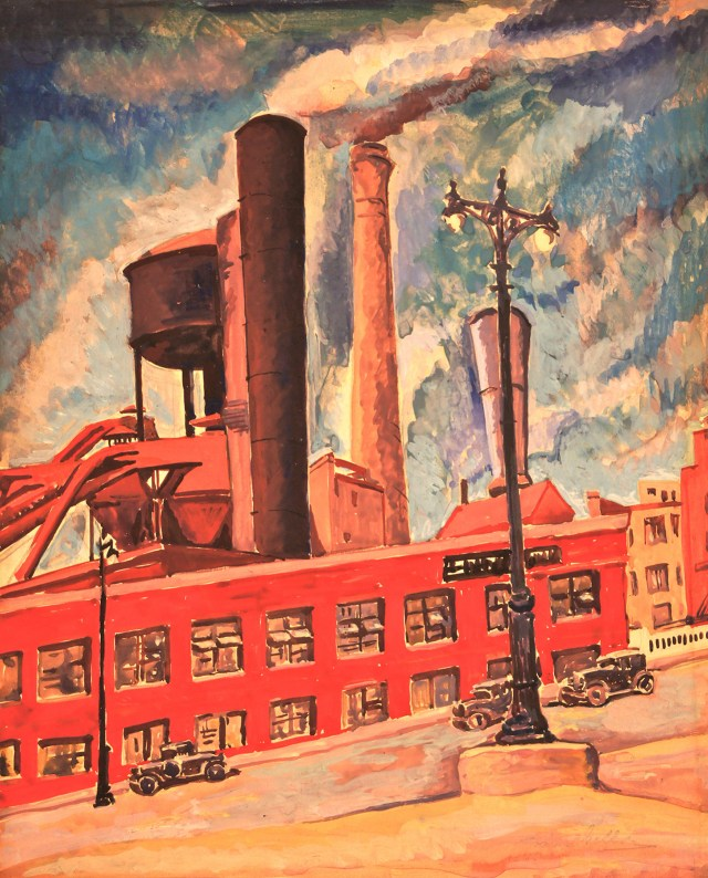 "Todros Geller, ""Untitled (Factory)"" (c.1930), watercolor, 12 x 10 in., Collection of Bernard Friedman"