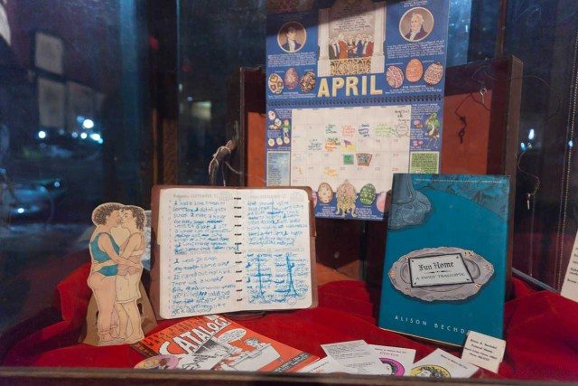 Memorabilia from Bechdel's life alongside 'Fun Home'
