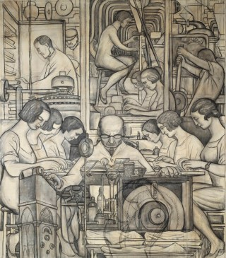 Preparatory Drawing for Pharmaceutics (Detroit Industry south wall), Diego Rivera, 1932