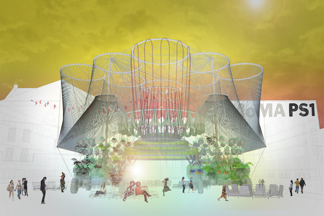 """Rendering of Andrés Jaque/Office for Political Innovation's """"COSMO,"""" the winning design of the 2015 Young Architects Program. The Museum of Modern Art and MoMAPS1 (courtesy of Andrés Jaque/Office for Political Innovation)"""