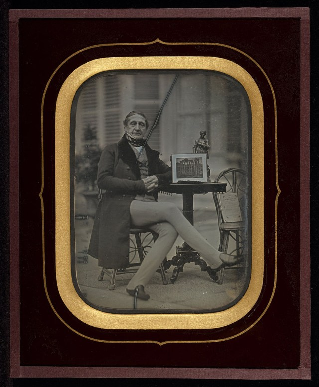 "Jean-Gabriel Eynard, ""Self-Portrait with Daguerreotype of Roman Forum"" (1845), daguerreotype (J. Paul Getty Museum, via Wikimedia)"