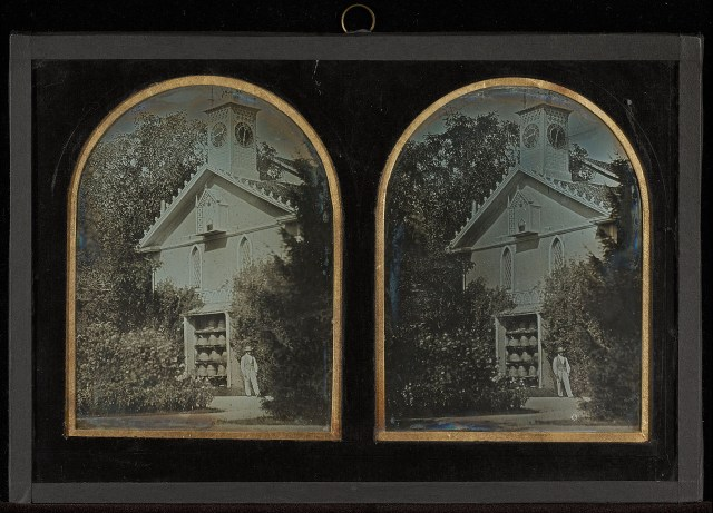 "Jean-Gabriel Eynard, ""Clock Tower House with Apiary"" (1852), stereograph daguerreotype (J. Paul Getty Museum, via Wikimedia)"