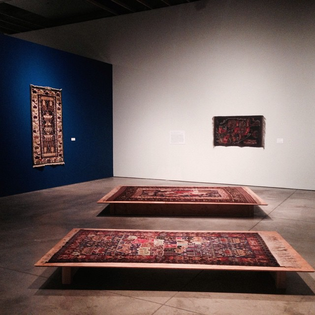 """Installation view, """"Afghan  War Rugs: The Art of Central Asia"""" at SMoCA. All images courtesy of the author for Hyperallergic"""