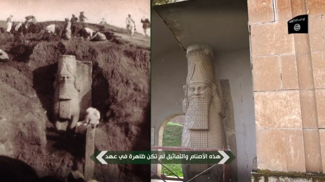 The excavation of an ancient Assyrian lamassu in the early 20th century and the statue in the Mosul Museum.