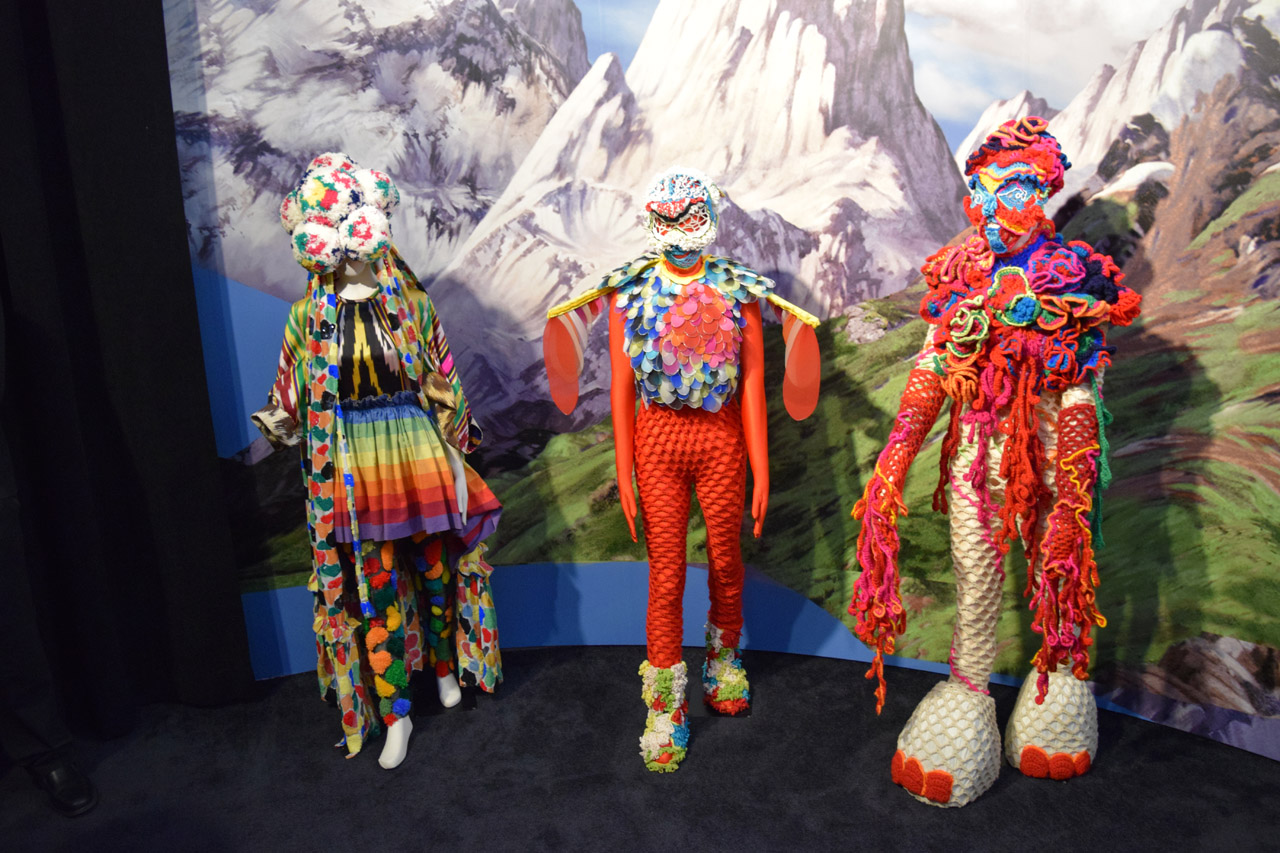 From left to right: Bernhard Willhelm, 'Volta' Tour Dress, The Icelandic Love Corporation, Second Skin (2004) and Wild Woman Voodoo Granny Doll Crochet (2007/15) (photo by Benjamin Sutton/Hyperallergic)