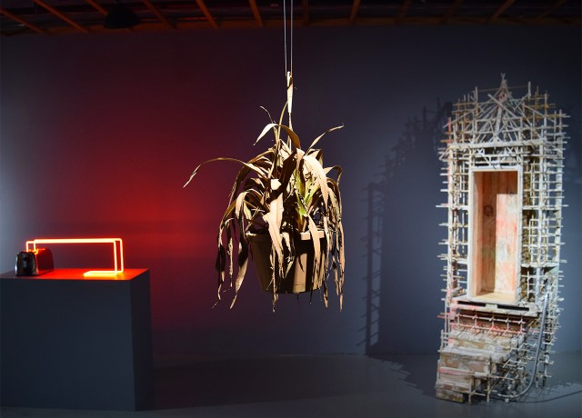 Installation view of 'New American Sculpture' at FiveMyles with, from left to right, works by Clive Murphy, Lindsay Dye, and Asif Mian