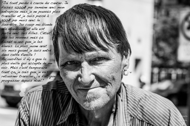 """""""I lost everything because of cancer. I used to make $5,000 per week with my company but I couldn't work anymore and it dropped to $900 a month with social welfare. So my girlfriend abandoned me, she left with her daughters. They weren't mine but I'd been raising them for the past 15 years. The youngest was six months old when I entered the family! Today, only the oldest one agrees to see me. But all of this is temporary, I know I'm going to get back to work, I've only gotten better since Christmas."""" All photos courtesy of"""