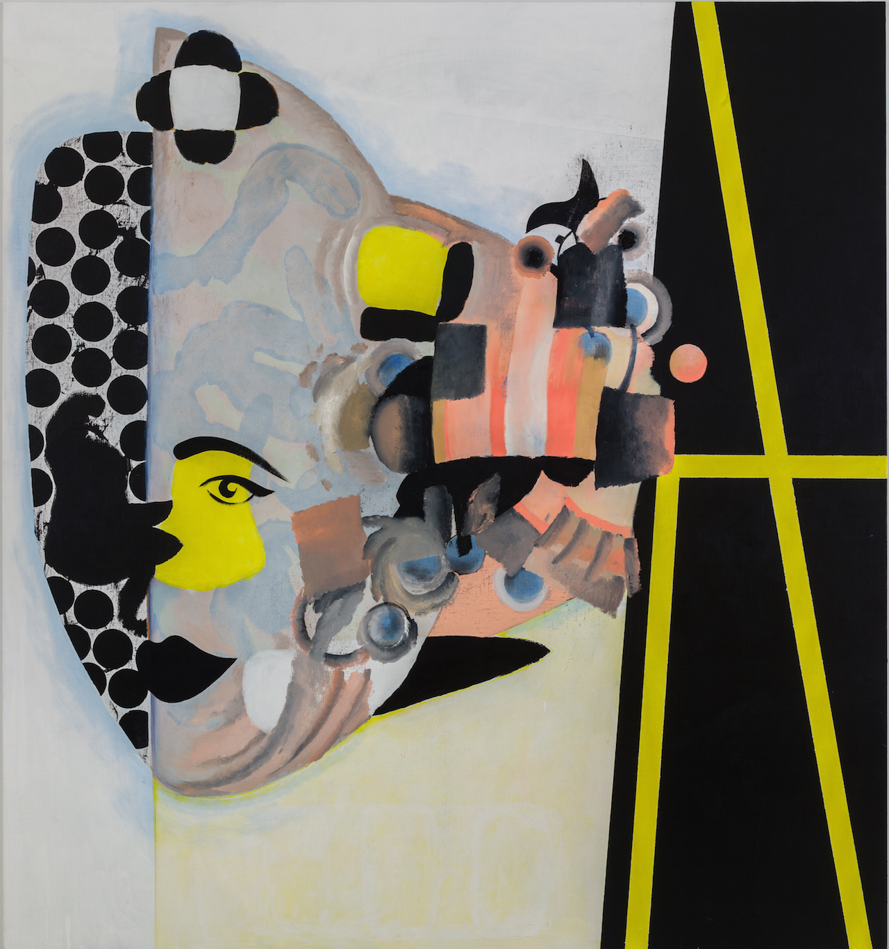 "Charline von Heyl, ""Carlotta"" (2013), oil, acrylic and charcoal on canvas (Ovitz Family Collection, Los Angeles; courtesy of the artist and Petzel, New York; photo by Jason Mandella)"