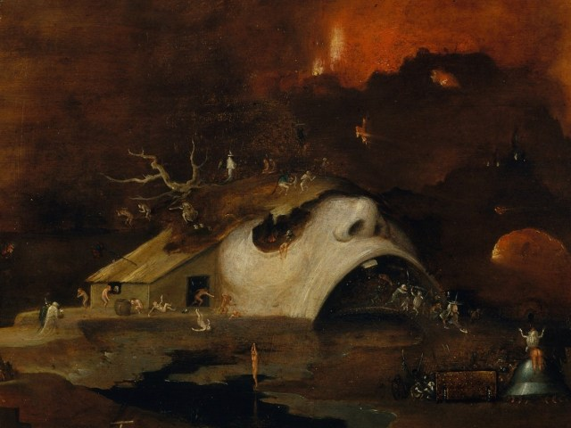 """Detail of """"Christ's Descent into Hell"""" (circa 1550–60) by a follower of Hieronymus Bosch (Harris Brisbane Dick Fund, 1926, Metropolitan Museum of Art, via Wikimedia Commons)"""