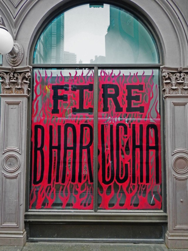 A message painted on a window of Cooper Union's Foundation Building in April 2013. (courtesy Free Cooper Union)