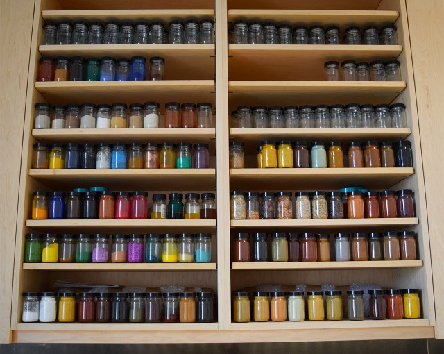 Pigments in the conservation department's new wet lab