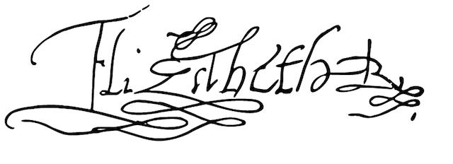 Queen Elizabeth I's signature (Image via Wikimedia)