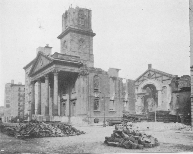 St. John's Chapel being demolished (1918) (courtesy American Scenic and Historic Preservation Society/Metropolitan History)