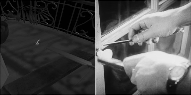 Scene from 'The Tender Cut'; still from 'Un Chien Andalou' (screenshots by the author for Hyperallergic)