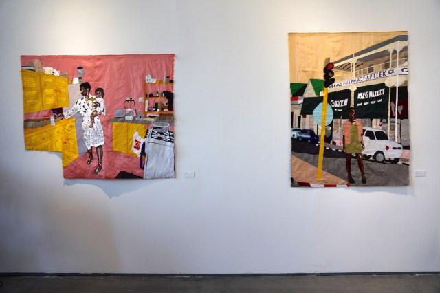 "Billie Zangewa, ""Ma vie en rose"" and ""Homecoming"" (both 2015), silk tapestries, at Afronova's booth (click to enlarge)"