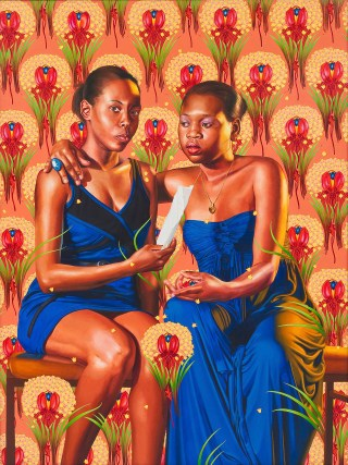 """Kehinde Wiley, """"The Sisters Zénaïde and Charlotte Bonaparte"""" (2014), oil on linen, 83½ x 63 in (212 x 160 cm), Collection of Nathan Serphos and Glenn Guevarra, New York (© Kehinde Wiley, photo by Robert Wedemeyer, courtesy Roberts & Tilton, Culver City, California) (click to enlarge)"""