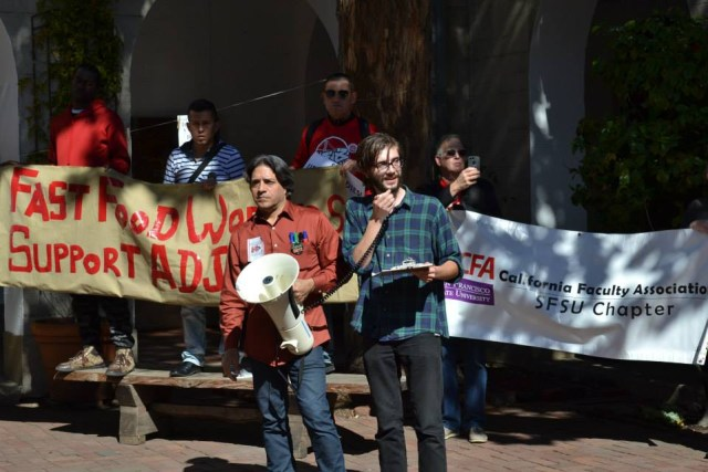 Protesters at the San Francisco Art Institute on National Adjunct Walkout Day, February 25 (photo courtesy Adjunct Action Bay Area, via Facebook)
