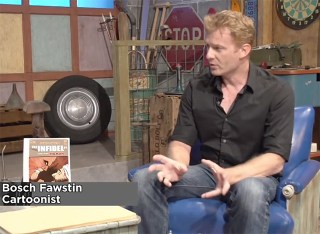 Bosch Fawstin being interviewed by The Flipside last year (via The Flipside's YouTube channel)