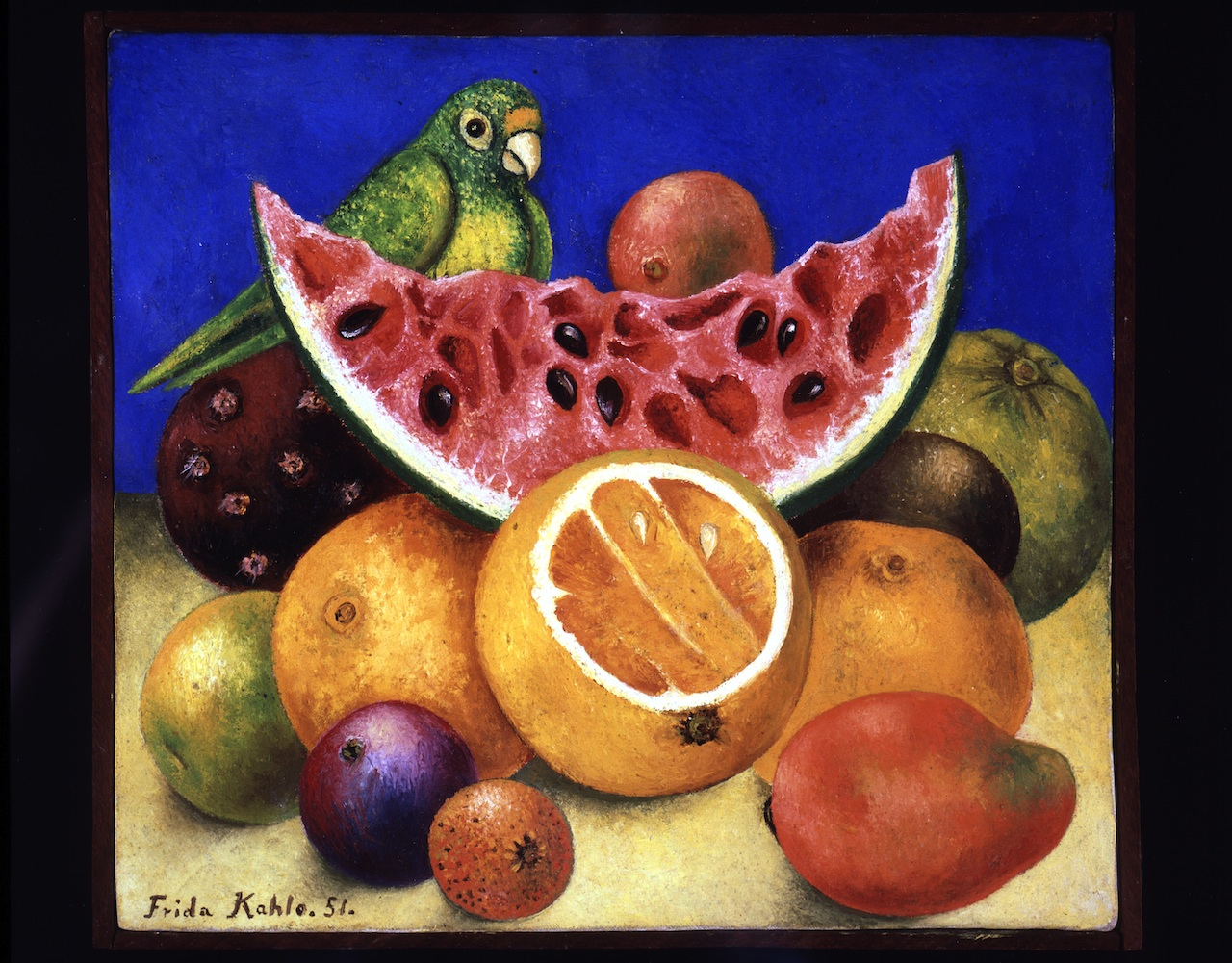 Frida Kahlo,Still Life with Parrot and Fruit,1951Harry Ransom Center, The University of Texas at Austin© 2014 Banco de México Diego Rivera Frida Kahlo Museums Trust, Mexico,D.F. / Artists Rights Society (ARS), New