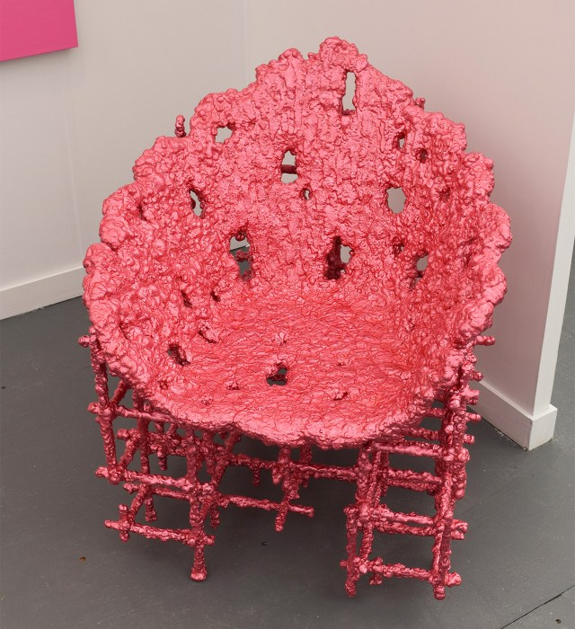 "Chris Schenk, ""Alufoil Chair (Pink)"" (2015) in the Almine Rech Gallery booth at Frieze New York"