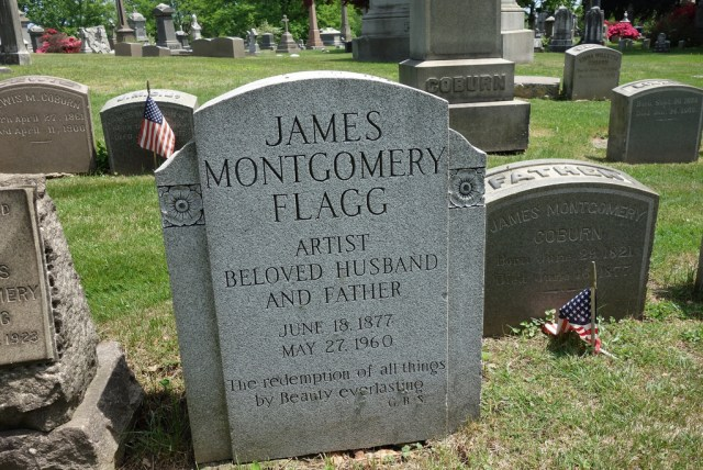 The grave of James Montgomery Flagg at Woodlawn Cemetery