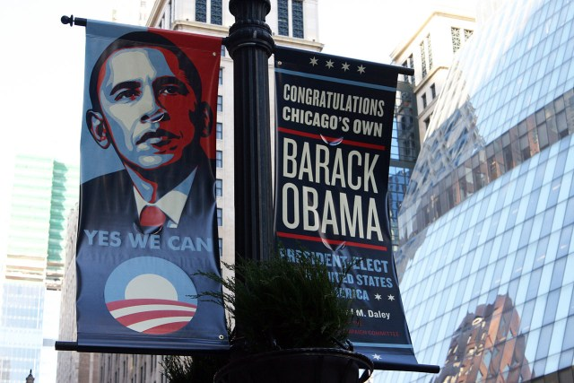 Shepard Fairey's Obama portrait on a banner in Chicago in 20108 (photo by Quinn Dombrowski, via Wikimedia Commons)