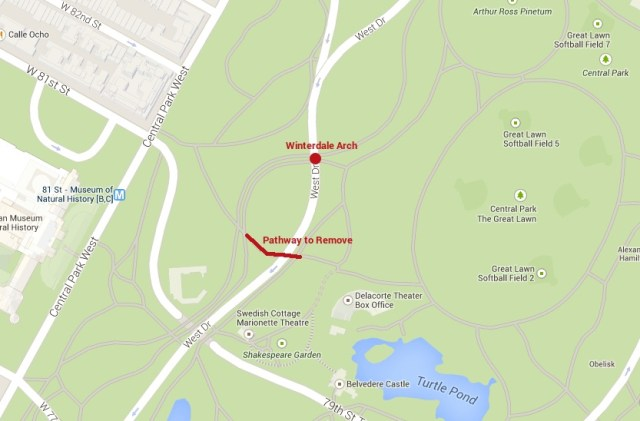 Map of the Winterdale Arch as an alternative to the pedestrian crosswalk (courtesy Central Park Arch Project)