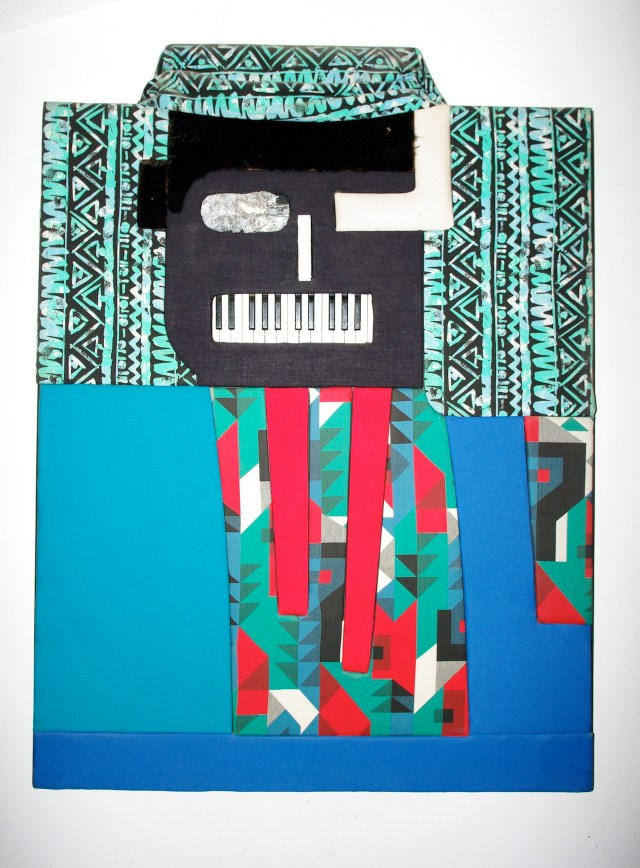 """Noah Purifoy, """"Earl Fatha Hines"""" (1990), 53 x 39 in., Sue A. Welsh Collection, photo courtesy Noah Purifoy Foundation, by Seamus O'Dubslaine"""