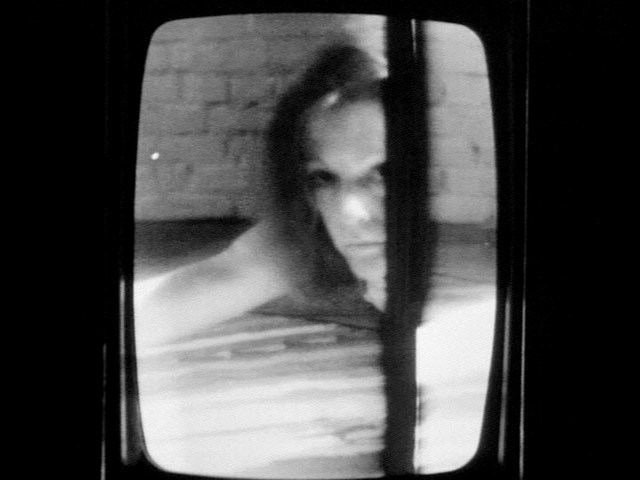 "Joan Jonas, still from ""Mirage"" (1976), 31 min, b&w, silent, 16 mm film on video"
