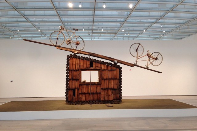"""Noah Purifoy, """"No Contest (bicycles)"""" (1991), assemblage sculpture, 168 x 252 x 24 in. (all photos by the author for Hyperallergic unless otherwise noted)"""