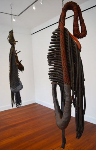"""Installation view with Detail of Françoise Grossen's """"Metamorphosis IV (4)"""" (1987–90, left) and """"Metamorphosis IV (7)"""" (1987–90, right)"""