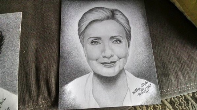 A drawing of Hillary Clinton (Image via Twitter)