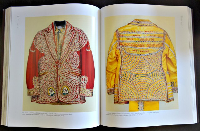 Loy Bowlin's suits in 'Sublime Spaces & Visionary Worlds' (photo of the book for Hyperallergic)