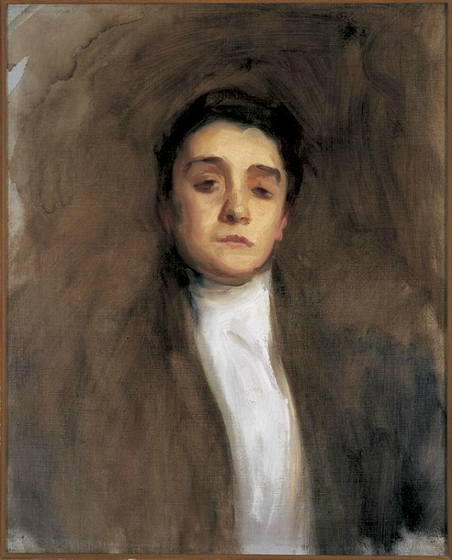 John Singer Sargent's unfinished portrait of Italian actress Eleonora Duse (1893), oil on canvas (Herta and Paul Amir Collection, via Wikimedia)