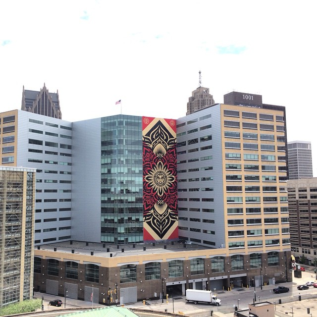 Shepard Fairey's sanctioned, 18-story mural in downtown Detroit. (photo by obeygiant/Instagram)