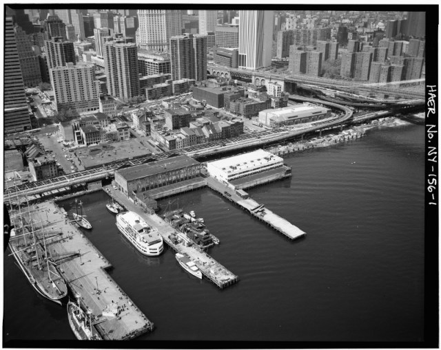 Pier 17-18 of the South Street Seaport in a historic photograph