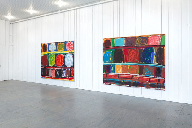 """Installation shot of Stanley Whitney's """"Radical Openness"""" (1992), oil on canvas, 81 1/2 x 103 1/2 inches"""