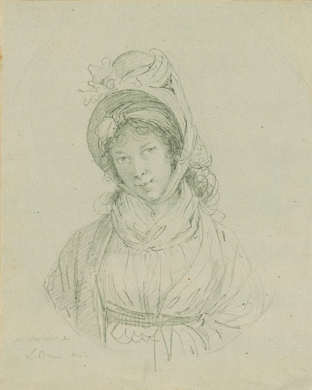 "Elisabeth Louise Vigée Le Brun ""Self-Portrait"" (ca. 1790). Graphite on blue writing paper. Purchased on the Fellows Fund, 1955, The Morgan Library & Museum."