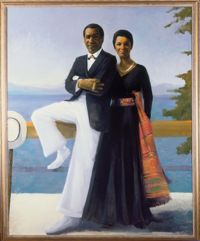 """Simmie Knox, """"Portrait of Bill and Camille Cosby"""" (1984), oil on canvas, 243.9 x 198 cm (96 x 78 in), The Collection of Camille O. and William H. Cosby Jr. (photo by David Stansbury, permission courtesy of the artist) (image courtesy the National Museum of African Art)"""