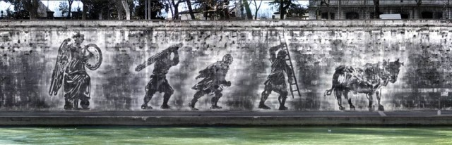 William Kentridge, Triumphs and Laments (proposal), Piazza Tevere, Rome.Rendering: Andrea Biagioni (2013). All images courtesy of Tevereterno