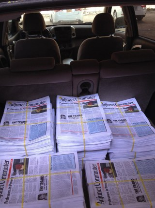Copies of 'Adjunct Commuter Weekly' (image via Facebook) (click to enlarge)