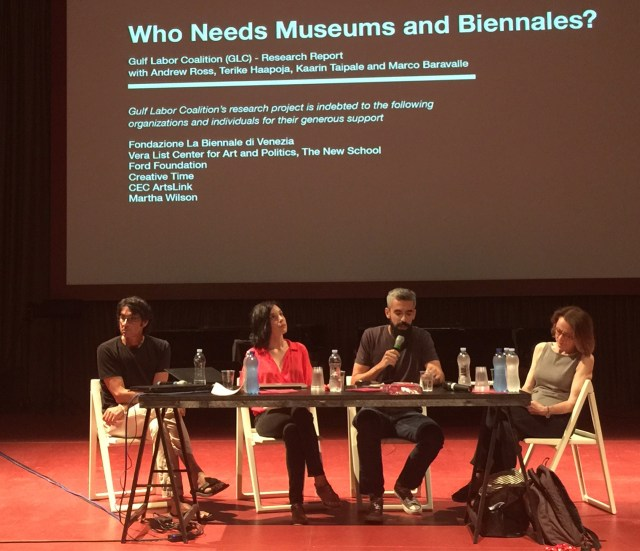 A view of the August 9 panel, where Andrew Ross (left) read the statement to those in attendance at the Giardini Pavilion of the 2015 Venice Biennale's All the World's Futures exhibition. (image courtesy MTL Collective)