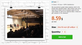 A print of Hyperallergic editors speaking in Baltimore, for sale on WallPart.com (screenshot by the author)