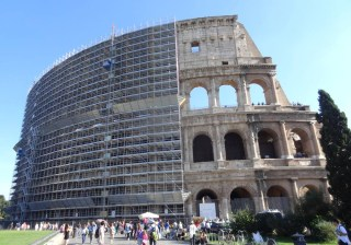 The Colosseum in Rome undergoing  renovations (photo by the author for Hyperallergic)