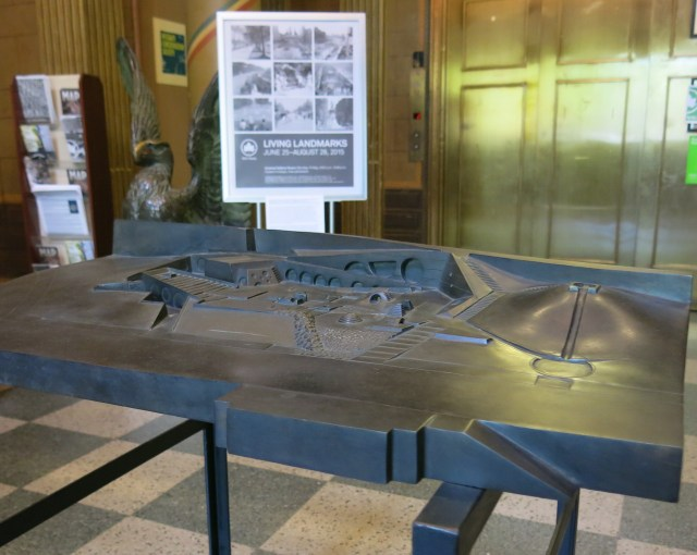 A scale model of Isamu Noguchi and Louis I. Kahn's proposed Riverside Park playground (photo by the author)