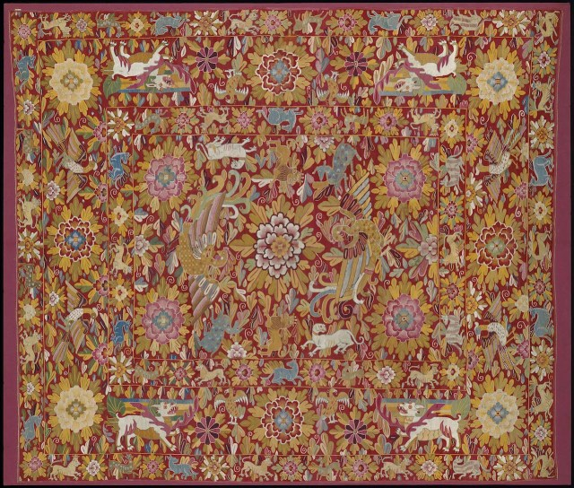 Cover (Peru, late 17th to early 18th century), wool, silk, cotton, and linen interlocked and dovetailed tapestry (Denman Waldo Ross Collection, © Museum of Fine Arts, Boston)