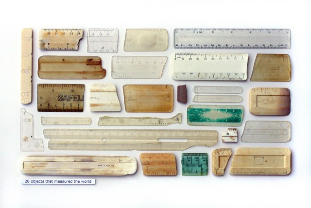 "Steve McPherson, ""28 Objects That Measured The World,"" plastic objects, entomology pins, text on card (courtesy the artist)"