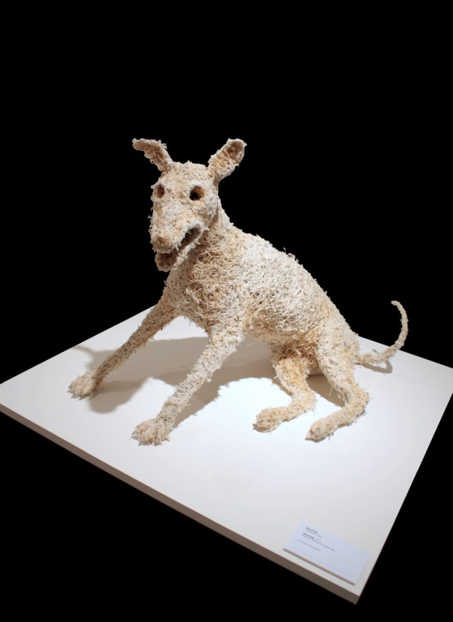 "Sue Ryan, ""Ghost Dog,"" recycled wire, synthetic ghost net, beach rope, cotton thread (courtesy Martin Browne Contemporary Gallery)"